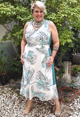 Vestido Regata Midi Plus Size Estampado
