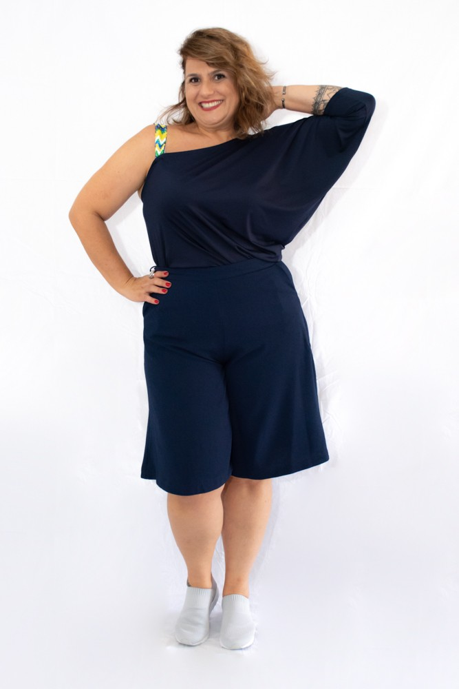 Blusinha Plus Size Malha Um Ombro Só