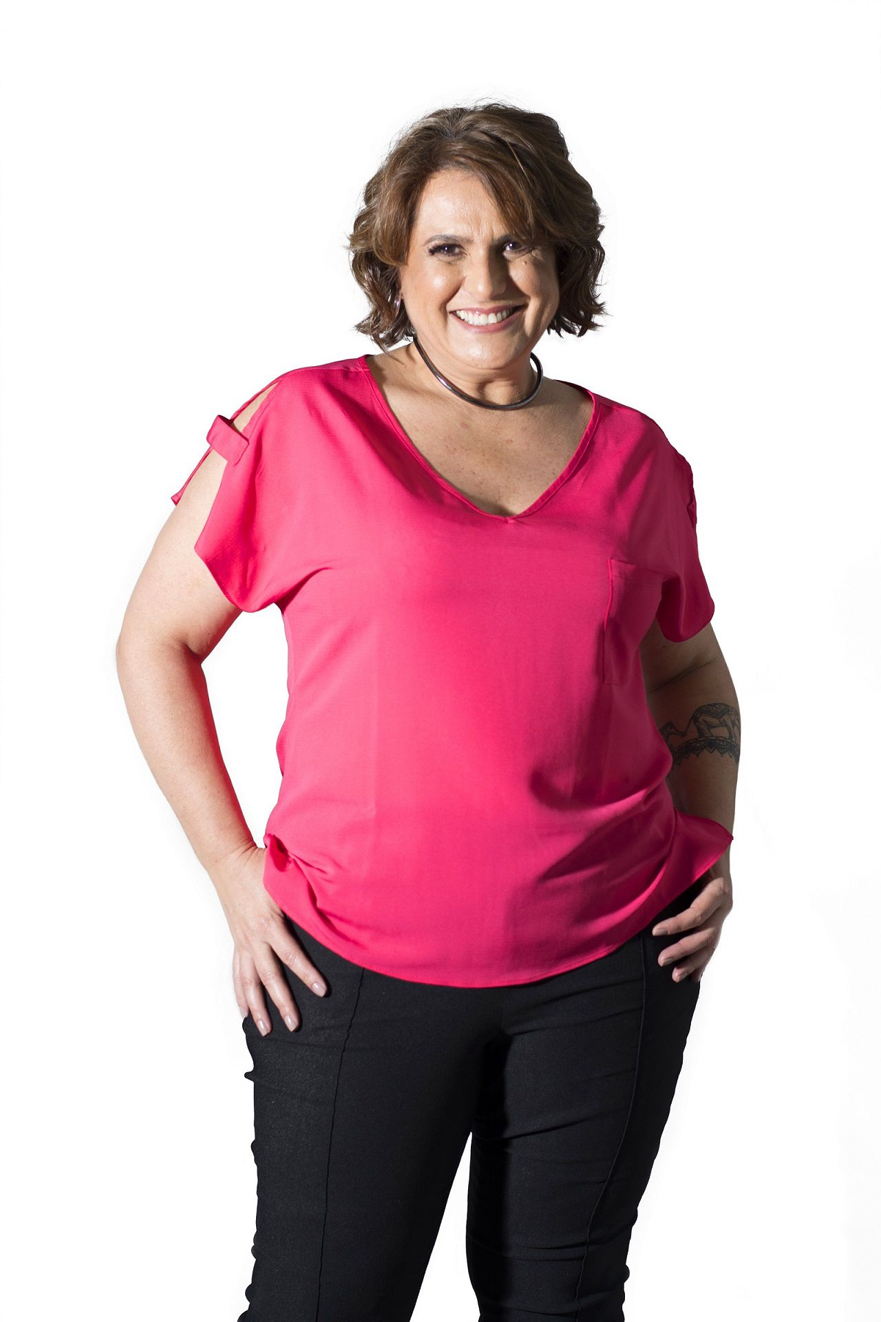 Blusa Plus Size Color Crepe Pink