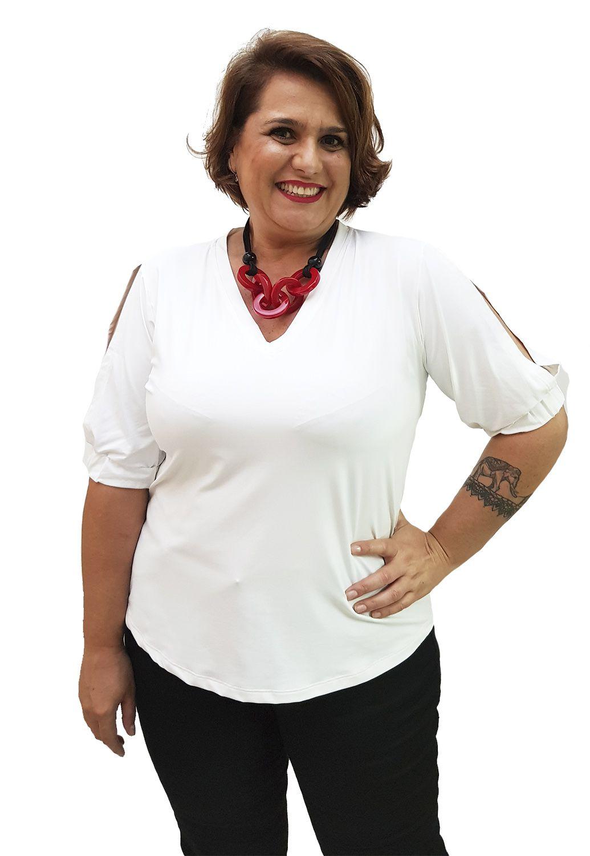 Blusa Plus Size Com Manga e Elástico no Punho Branca