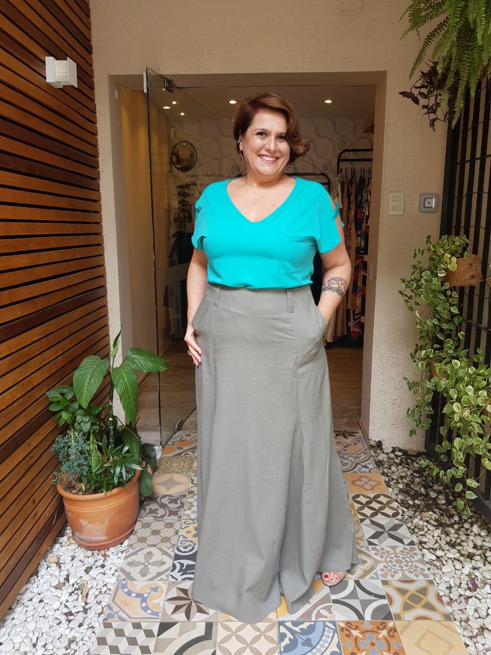 Blusa Plus Size Crepe Verde Mint