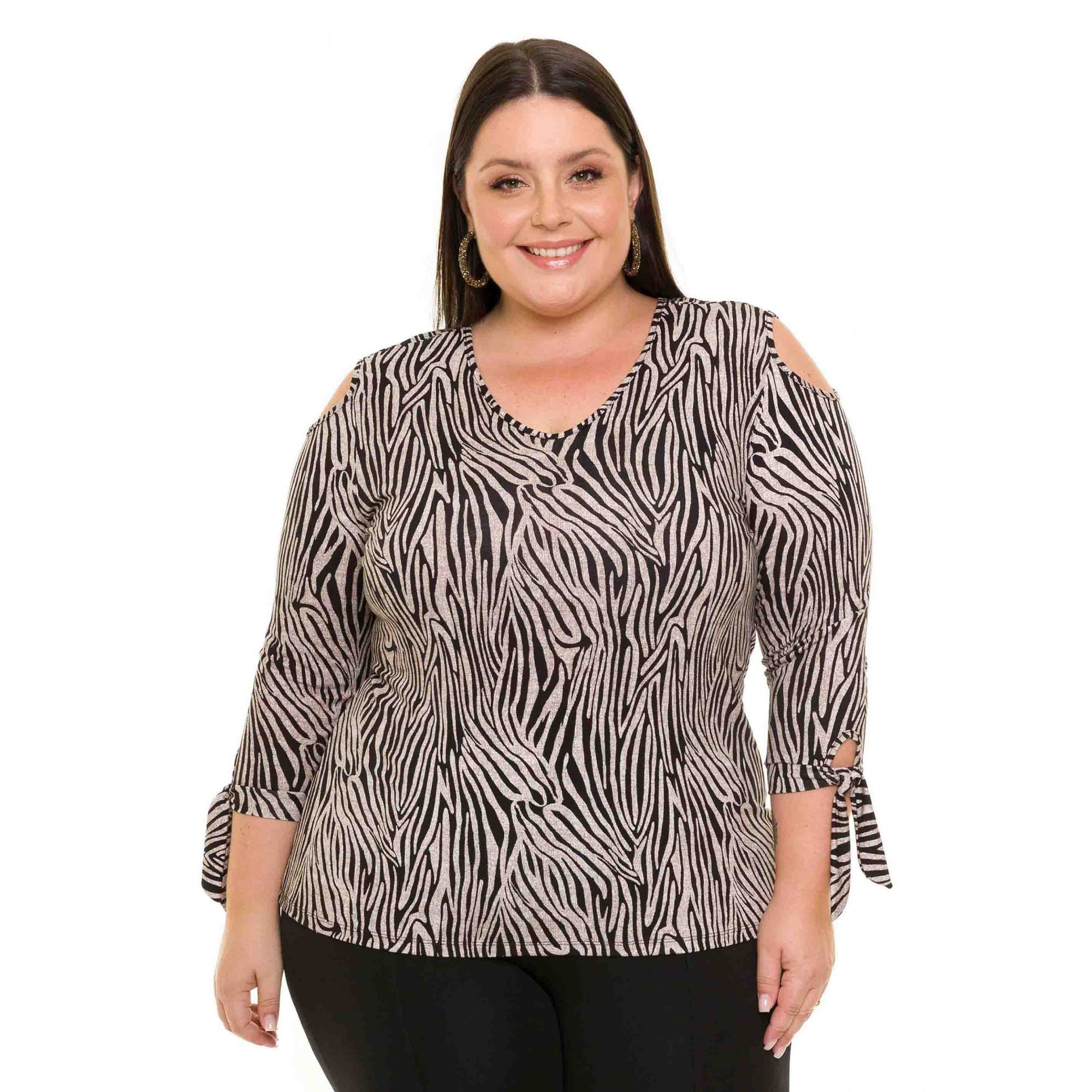 Blusa Plus Size Manga Longa Visco Estampada Zebra