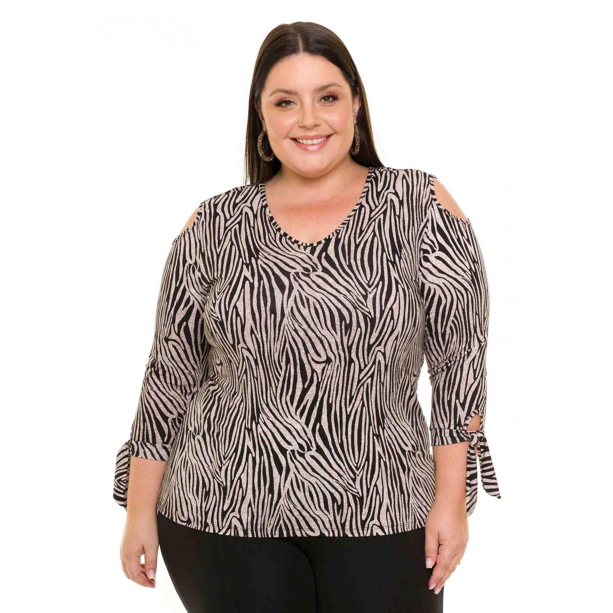 Blusa Plus Size Manga Longa Visco Estampada Zebra