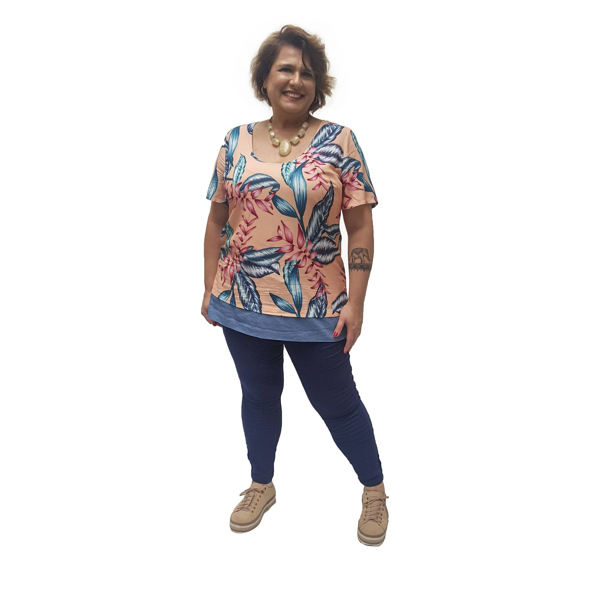 Blusa Viscose com Barrado Plus Size