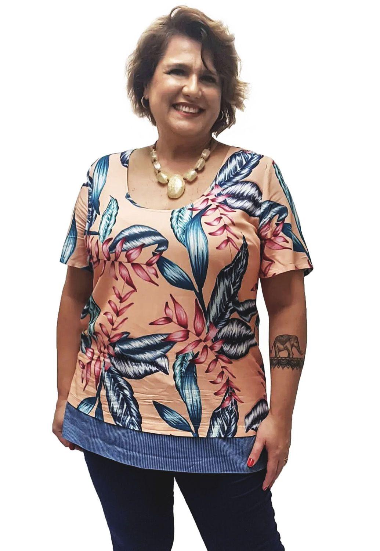 Blusa Viscose com Barrado Plus Size