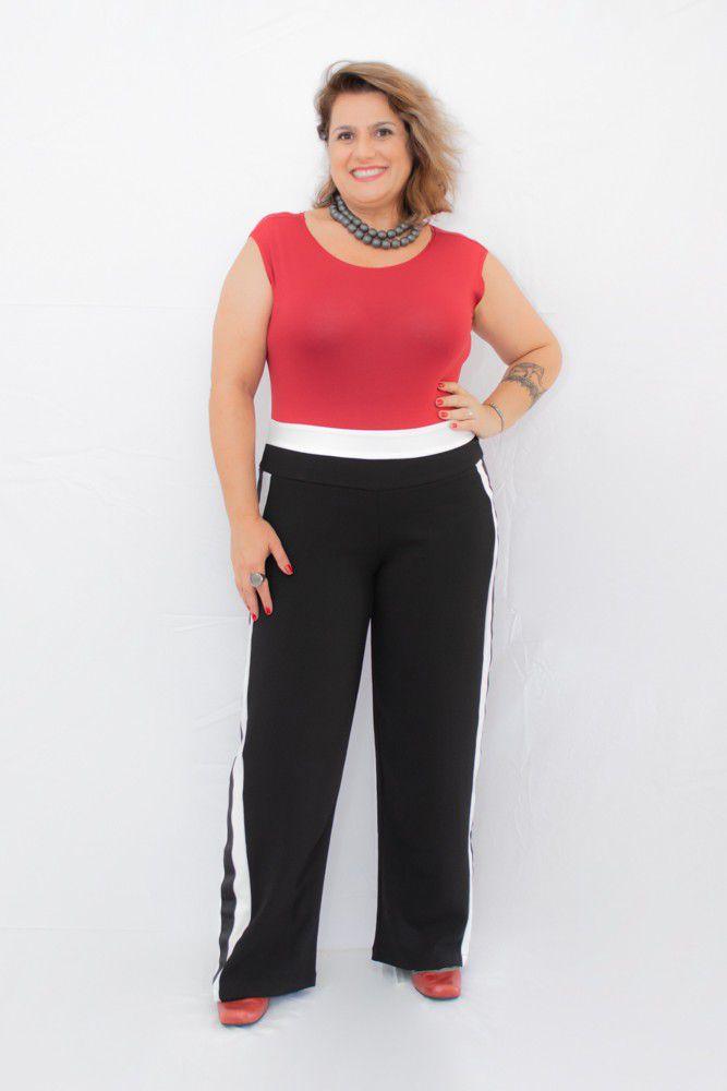 Body Plus Size Malha Vermelho