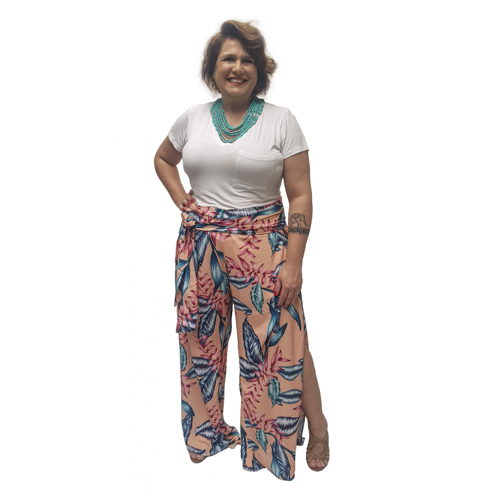 Calça Envelope Estampada Plus Size