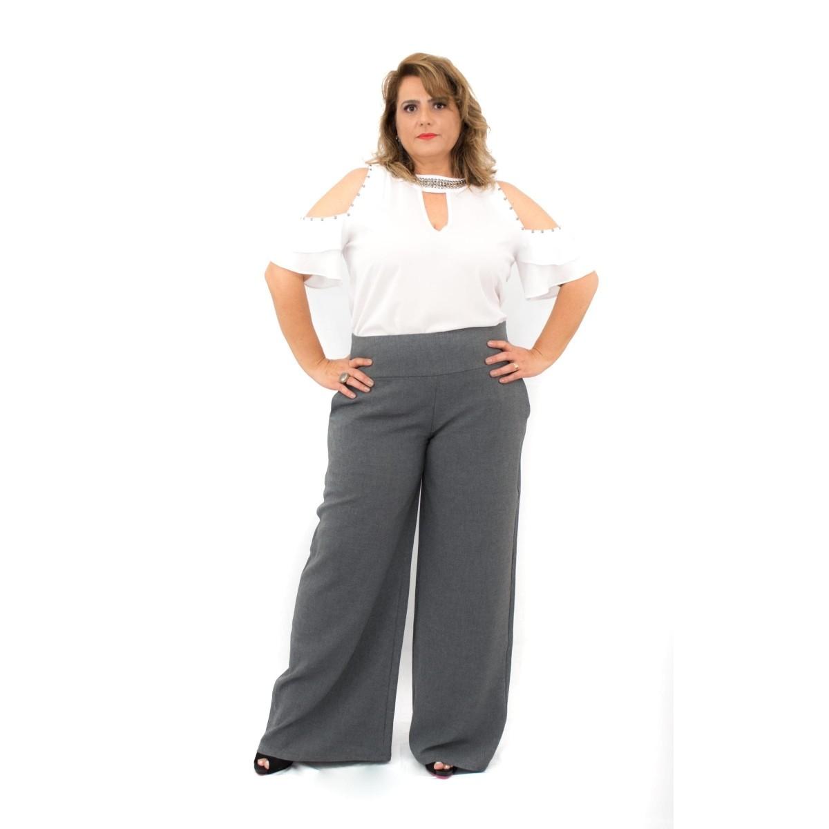 Calça Plus Size Pantalona Linhão  Poliéster