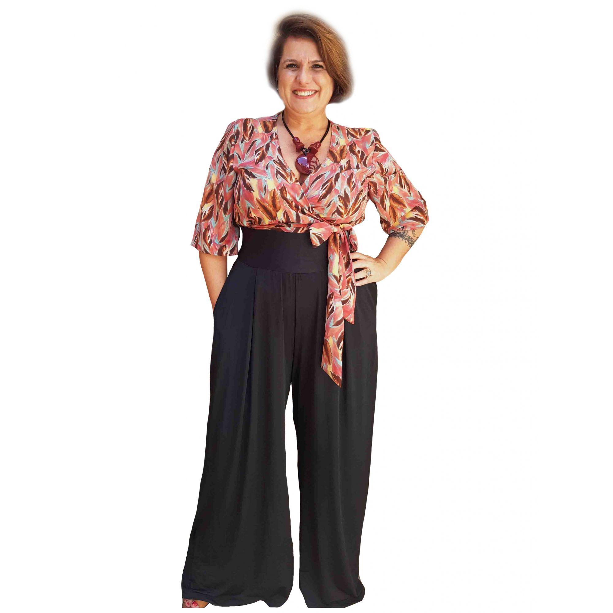 Calça Pantalona Malha Plus Size