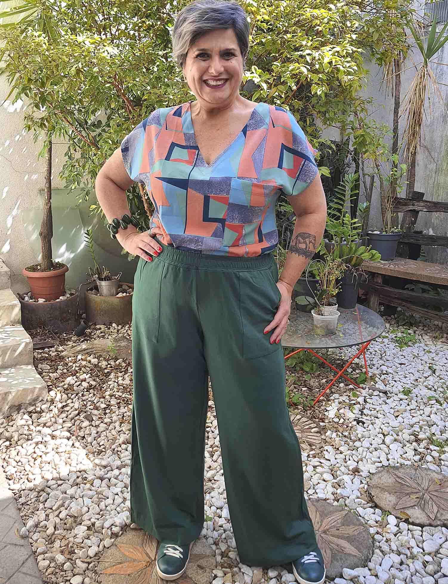 Calça Plus Size Pantalona Moletinho Verde