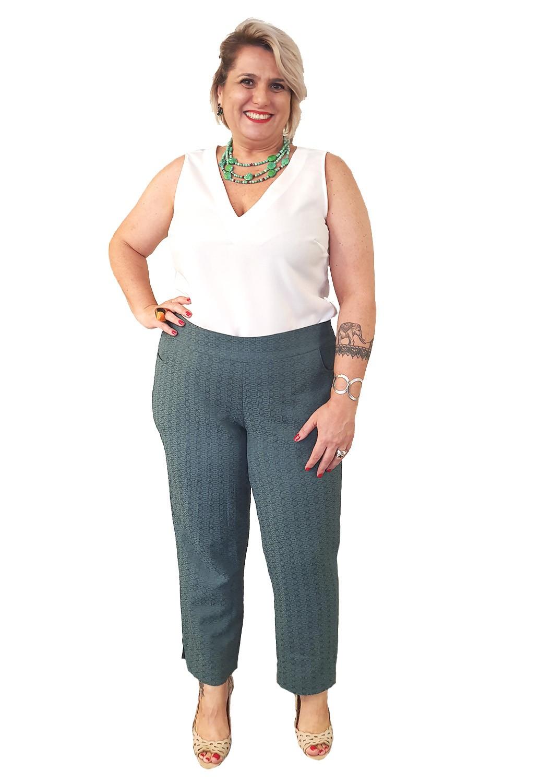 Calça Plus Size Verde Alfaiataria