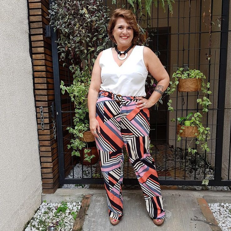 Calça Plus Size Viscose Estampada