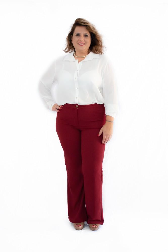 Camisa Plus Size Crepe Georgete Branca e Preta