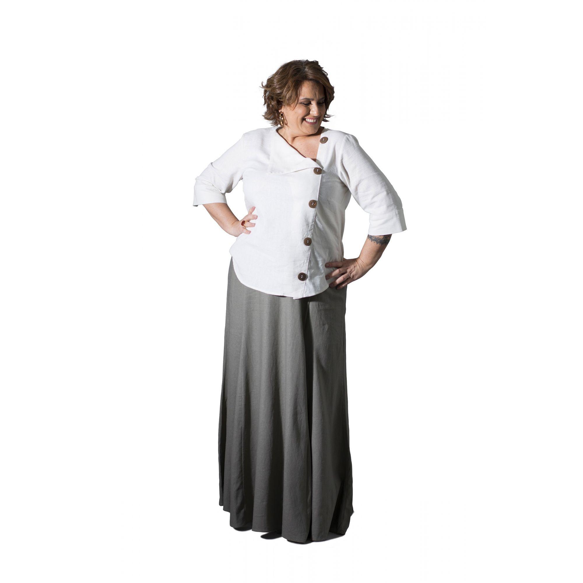 Camisa Plus Size Linho com Botões