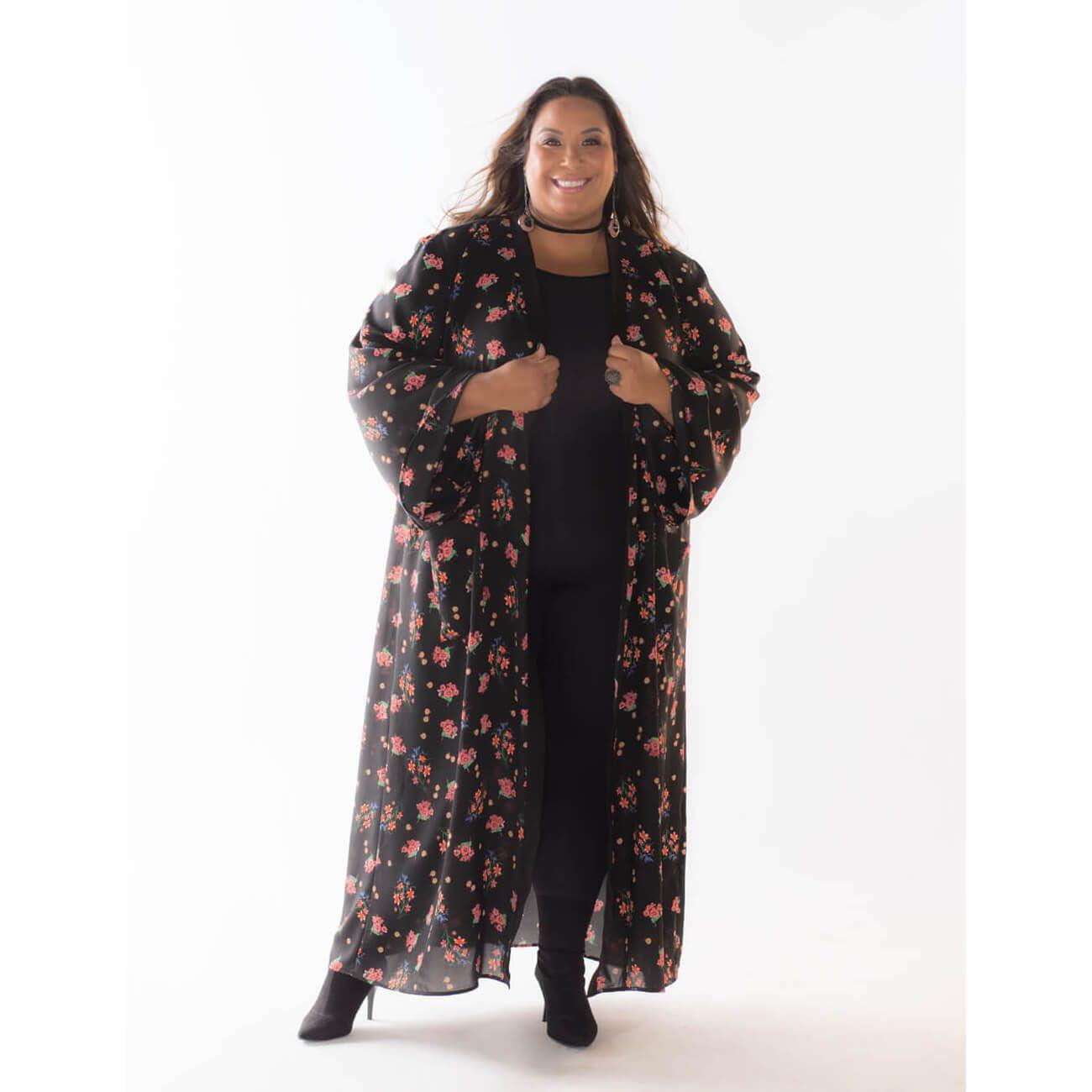 Kimono Plus Size Crepe Estampado Dani Rudz