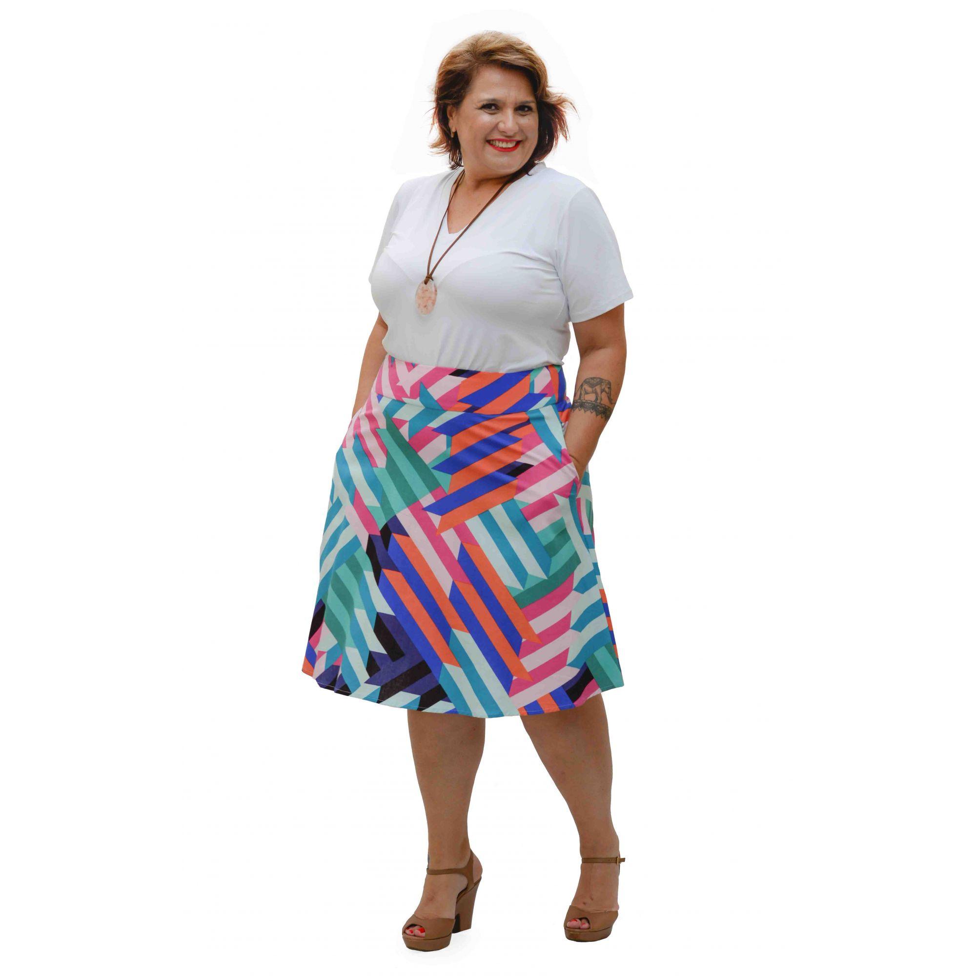 Saia Curta Plus Size de Linho Color Geométrica