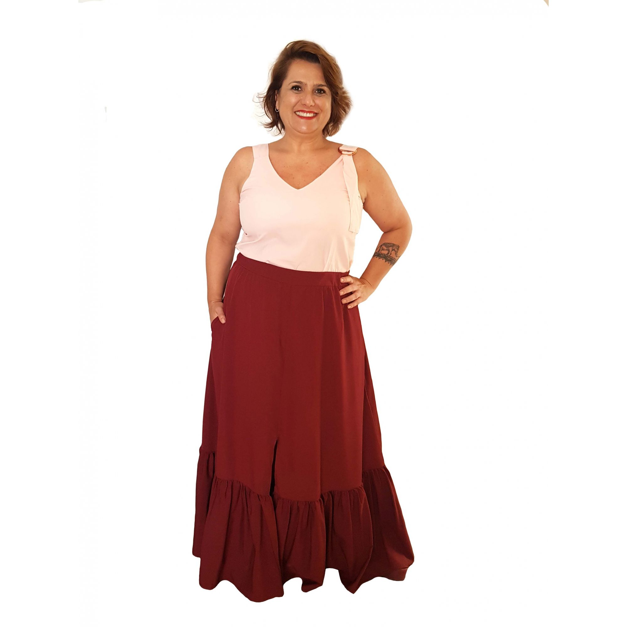 Saia Longa Babado Plus Size Marsala Vermelha