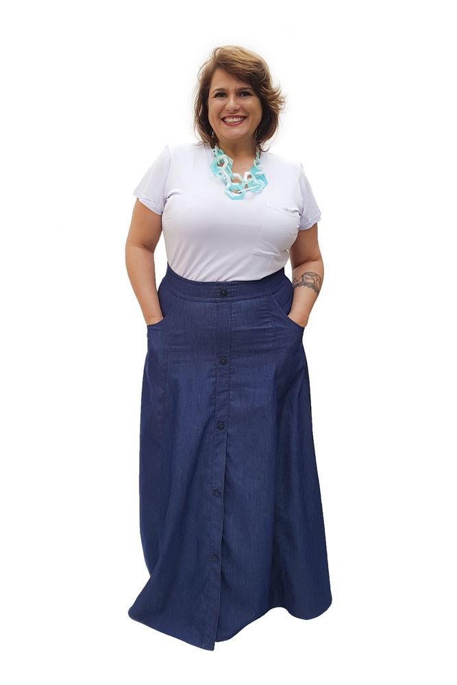 Saia Longa Jeans Plus Size