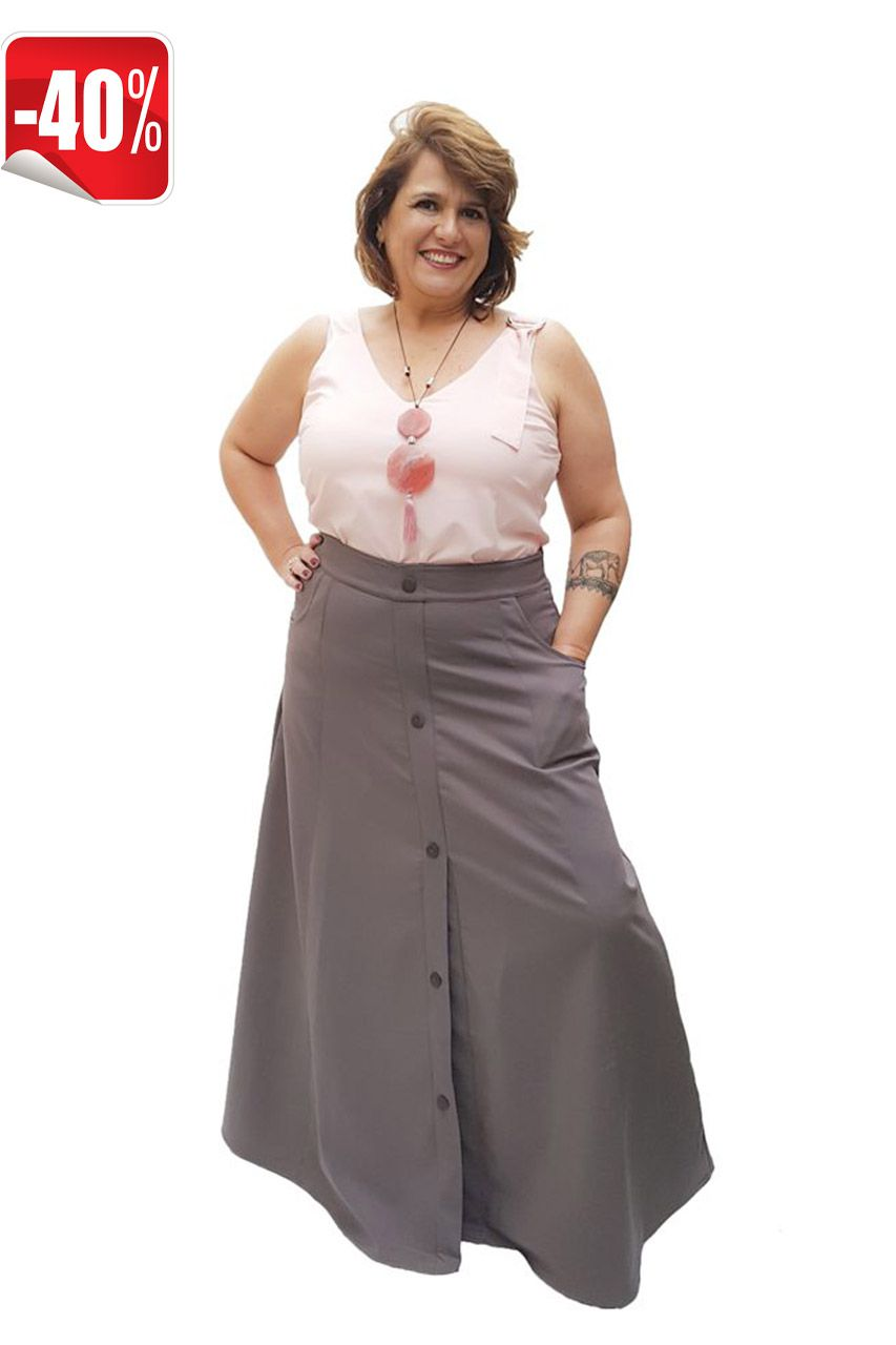 Saia Longa Plus Size Chocolate