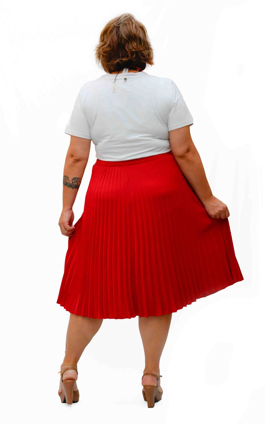 Saia Plissada Plus Size Bordô