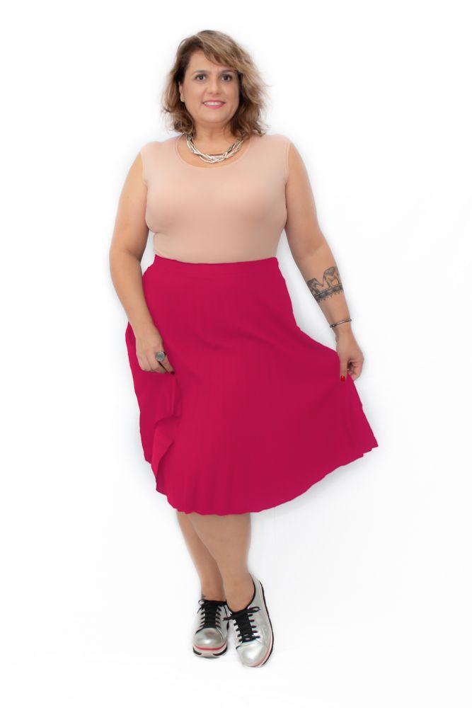 Saia Plus Size Plissada Midi Vermelha
