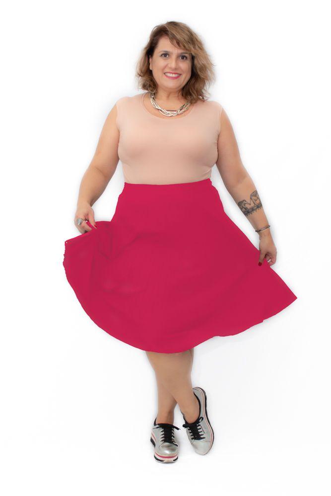 Saia Curta Plus Size Plissada Midi Vermelha