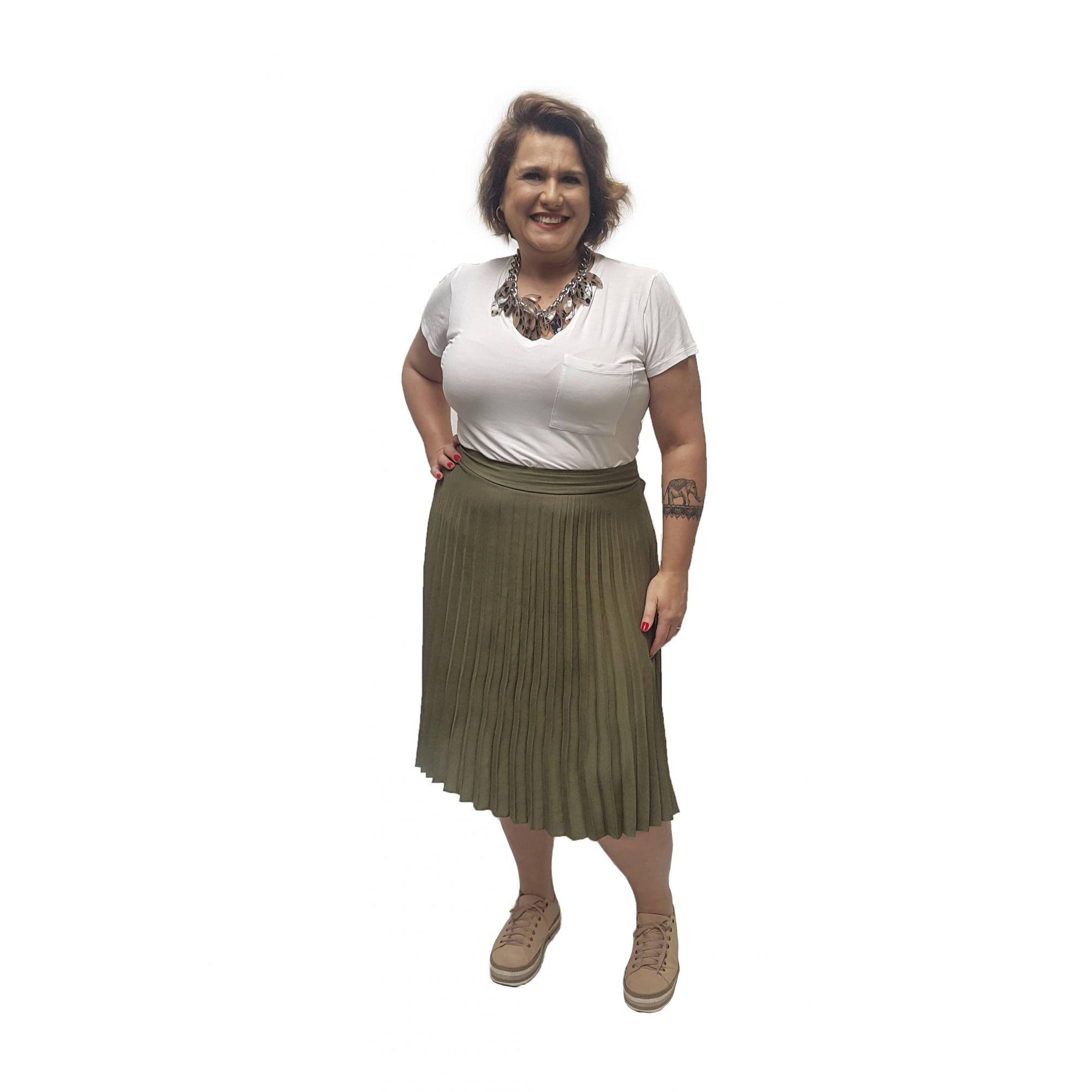 Saia Plissada Verde Curta Plus Size