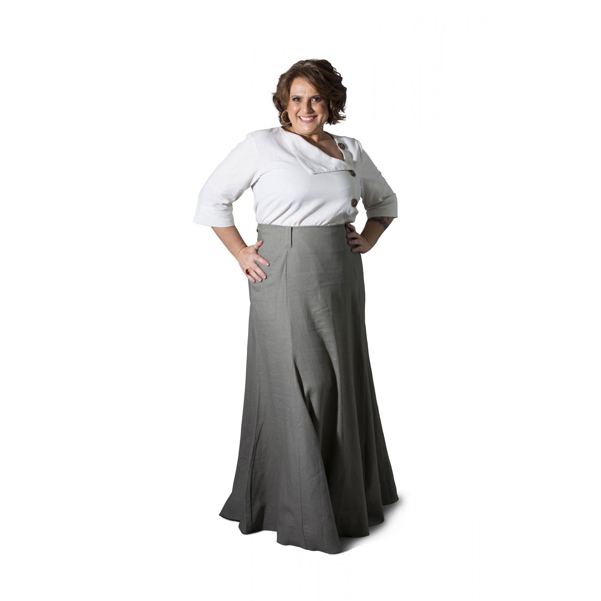Saia Plus Size Longa Linho Cinza