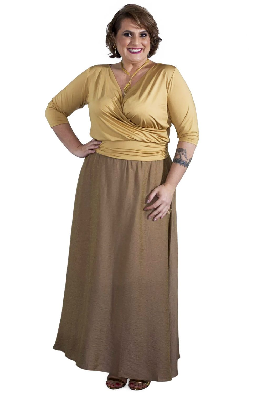 Saia Plus Size Midi Dourada