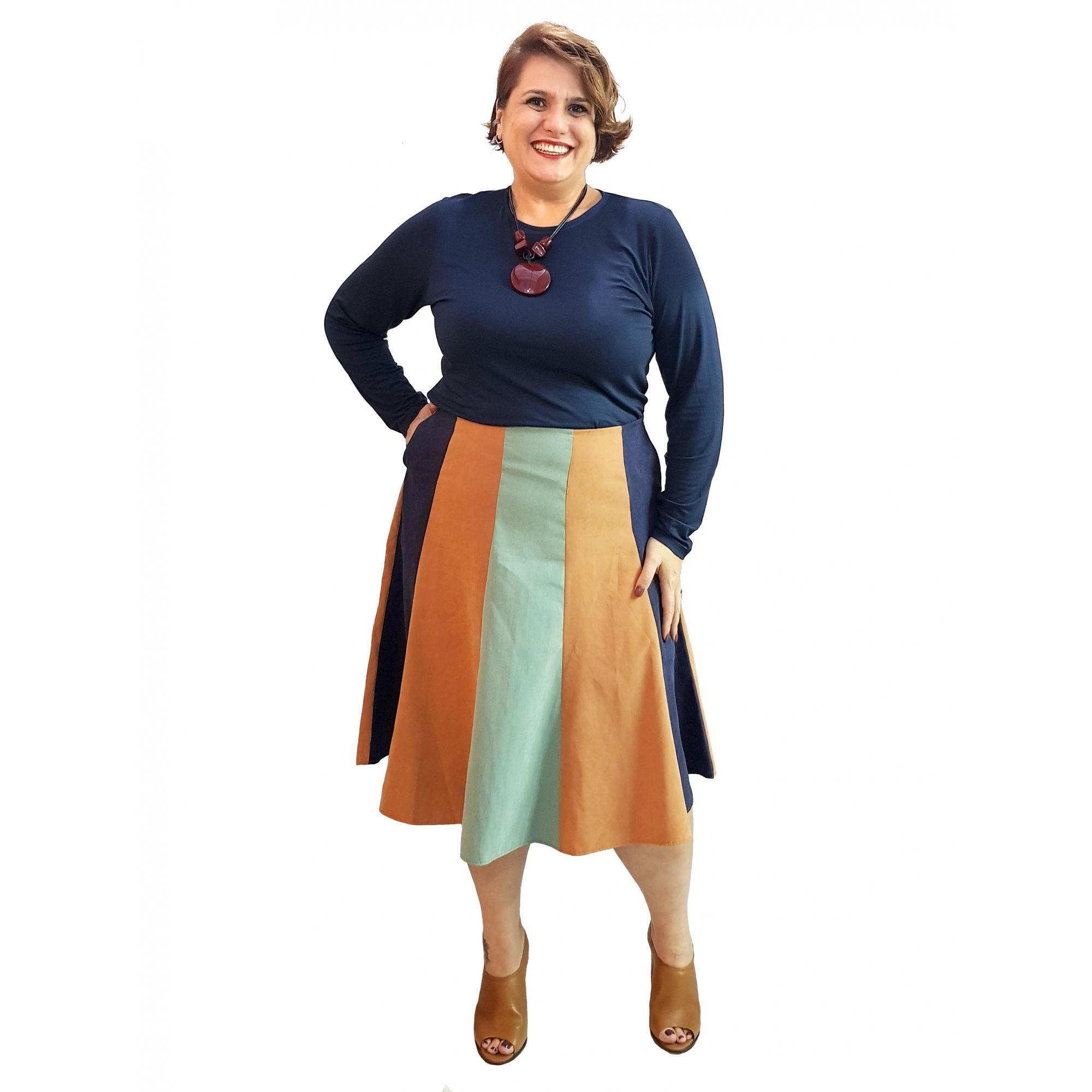 Saia Plus Size Midi Tricolor Camurça