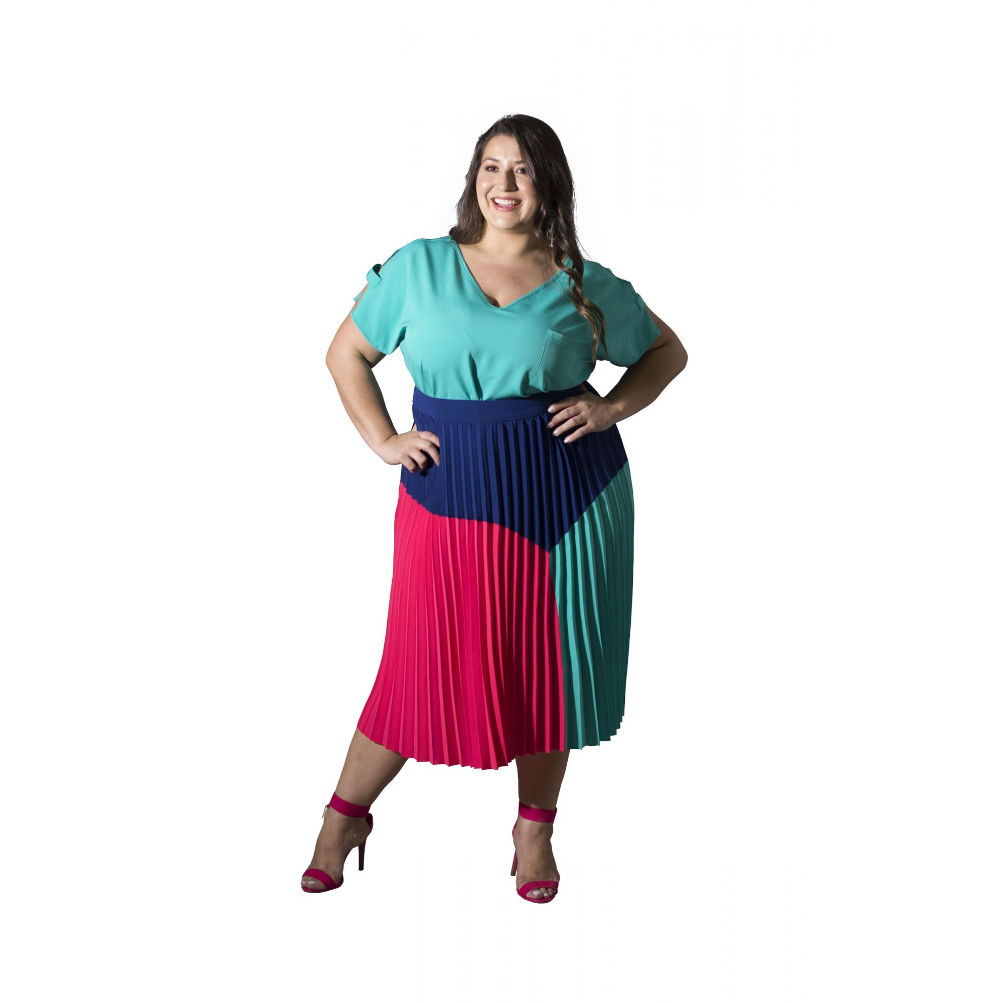 Saia Plus Size Plissada Tricolor