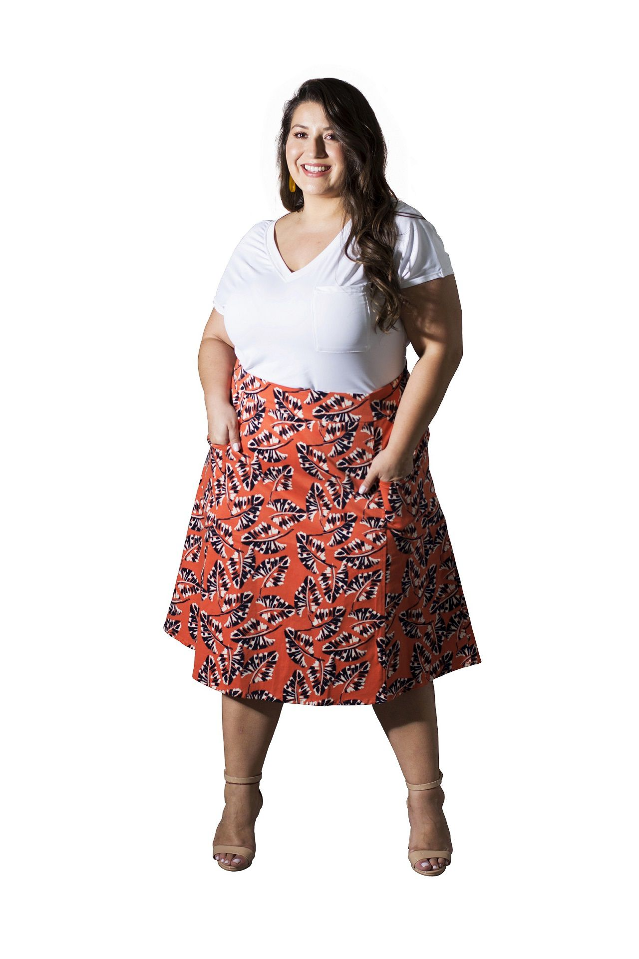 Saia Plus Size Sarja Estampada