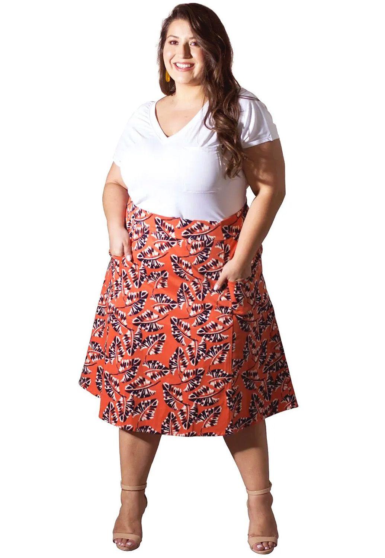 Saia Plus Size Sarja Estampada