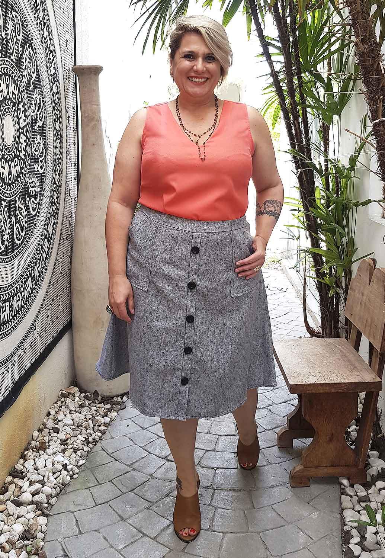 Saia Tweed Plus Size Mescla Cinza