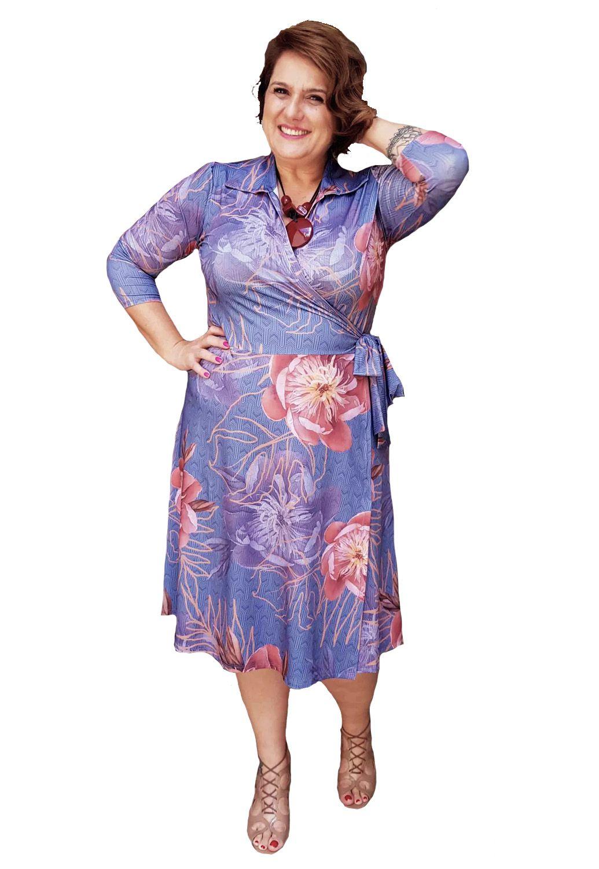 Vestido Cachecouer Estampado Marinho Plus Size