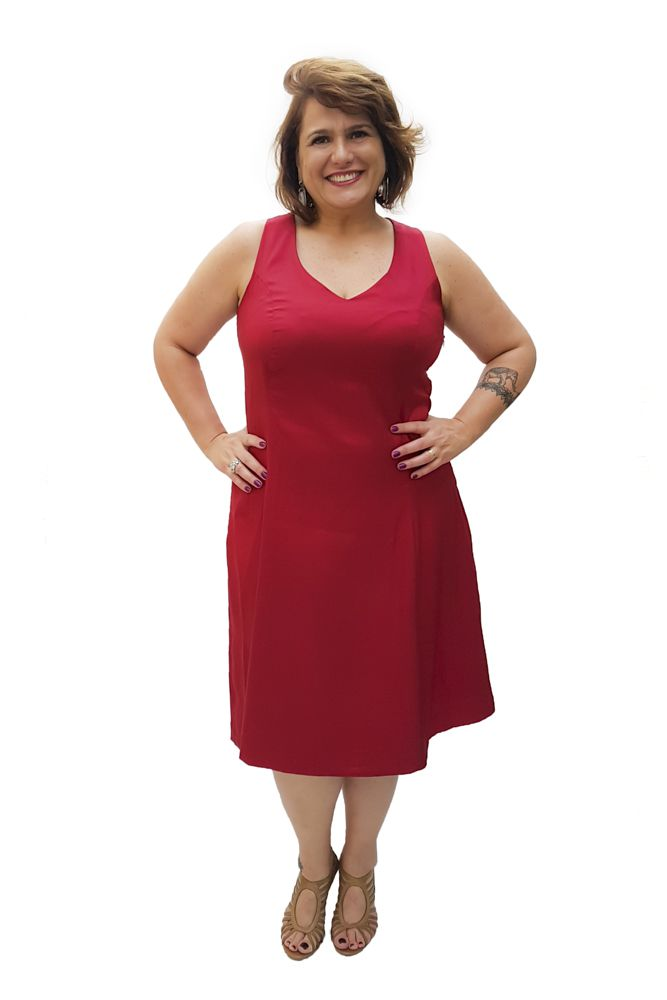 Vestido Curto Chantung Plus Size