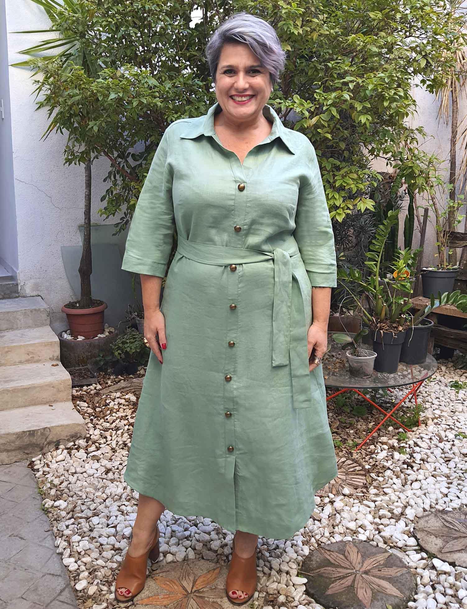 Vestido Chemise Plus Size de Linho