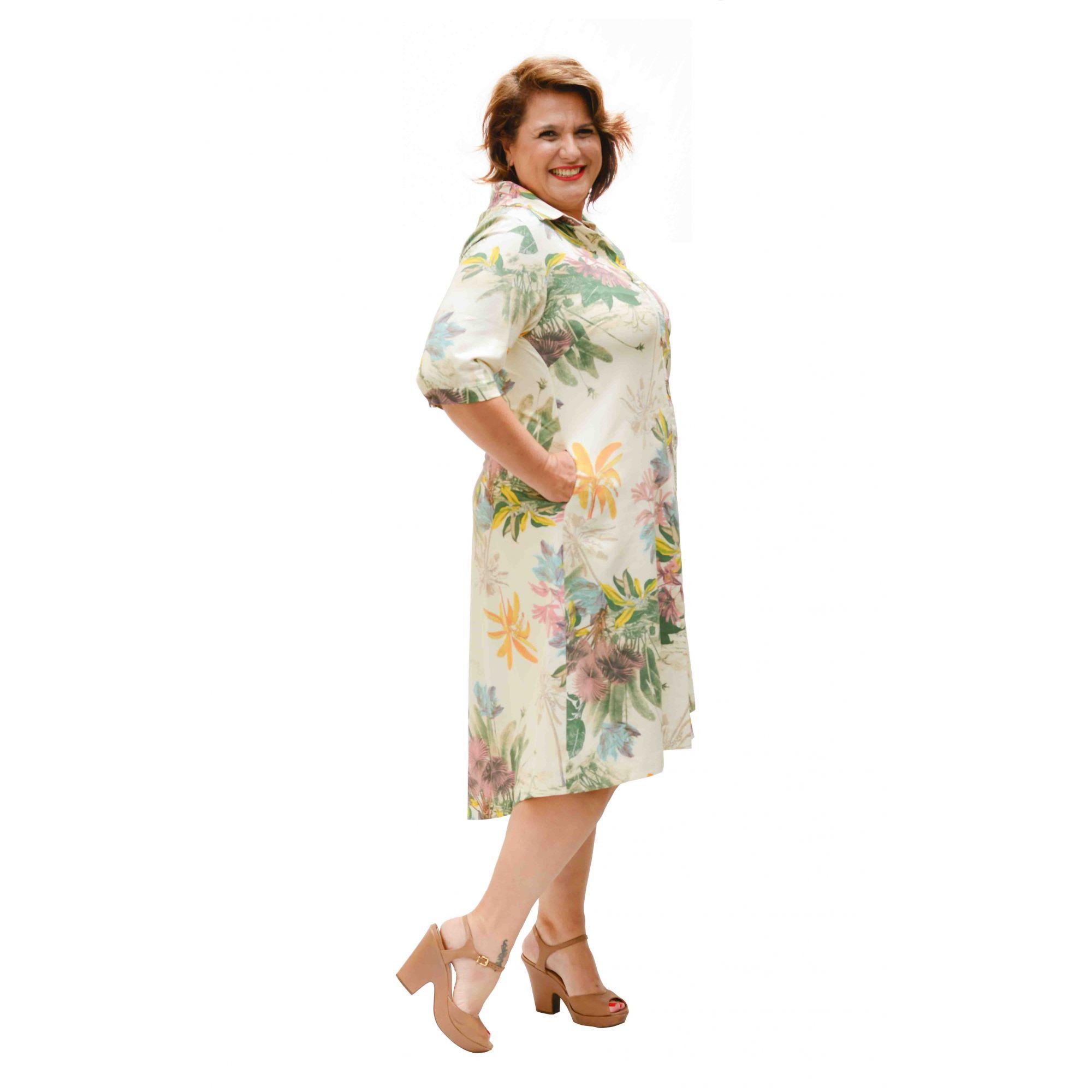 Vestido Curto Linho Estampado Plus Size