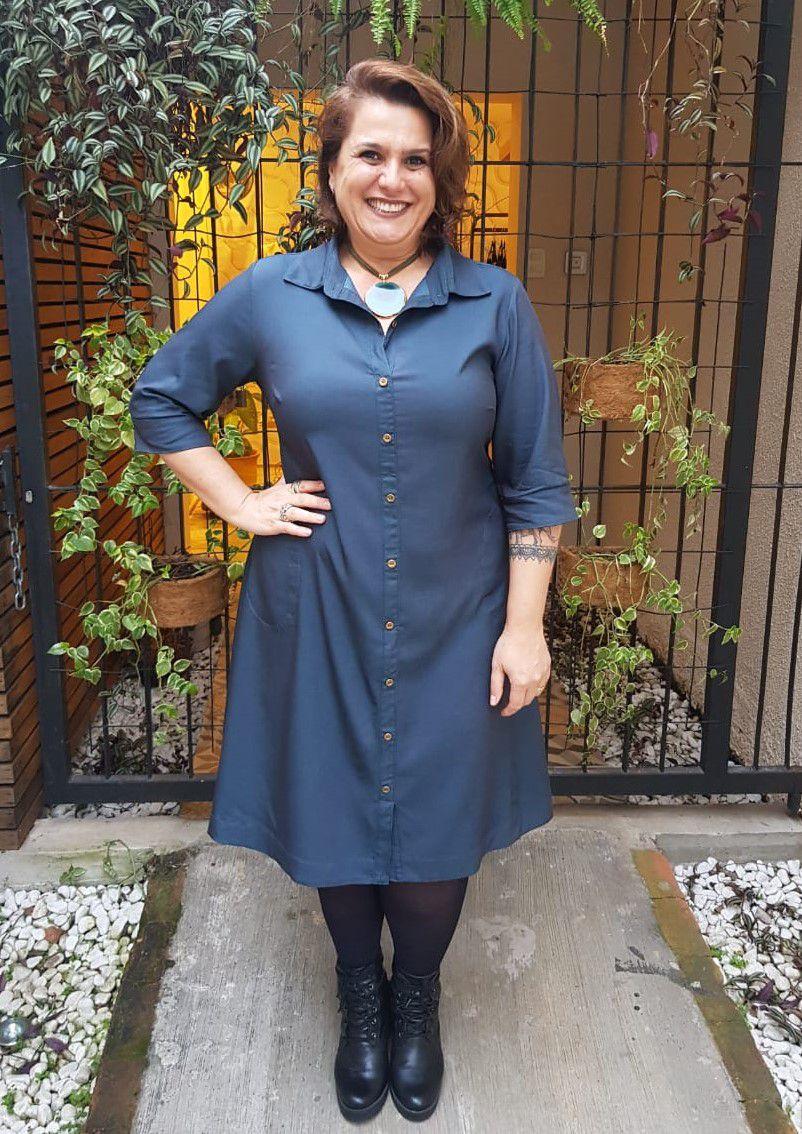 Vestido Curto Plus Size Básico Jeans Chambre