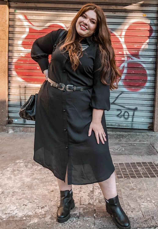 Vestido Curto Plus Size Chemise Preto