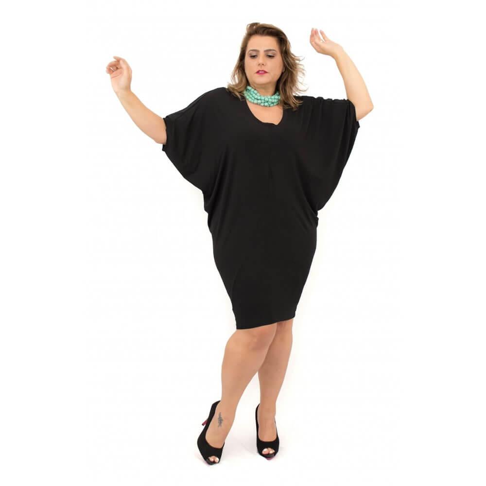 Vestido Curto Plus Size Preto Malha Supplex