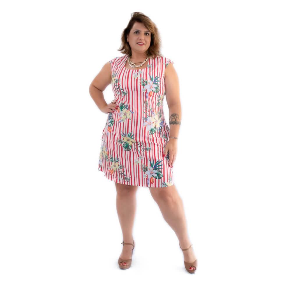 Vestido Curto Plus Size Tricoline Estampado