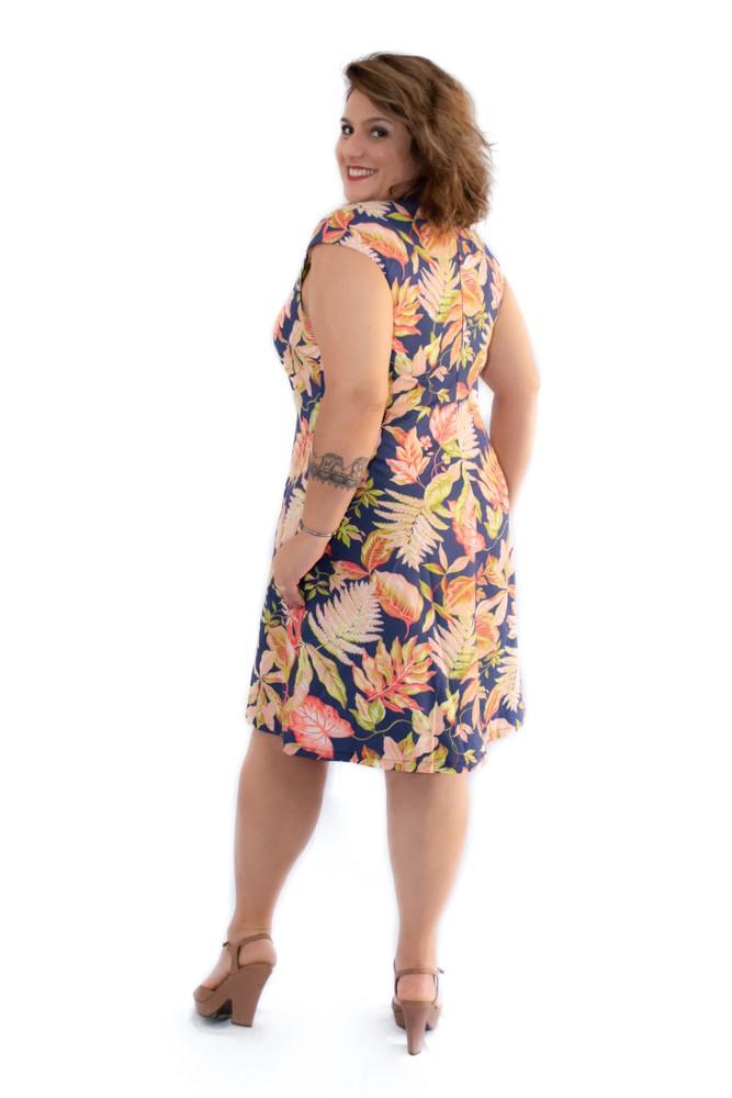 Vestido Curto Plus Size Tricoline Floral Marinho