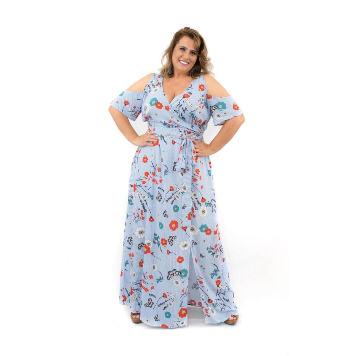 Vestido Longo Plus Size Estampado Viscose