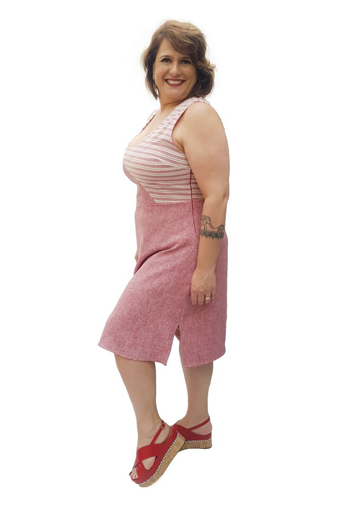 Vestido Linho Listrado e Liso Plus Size