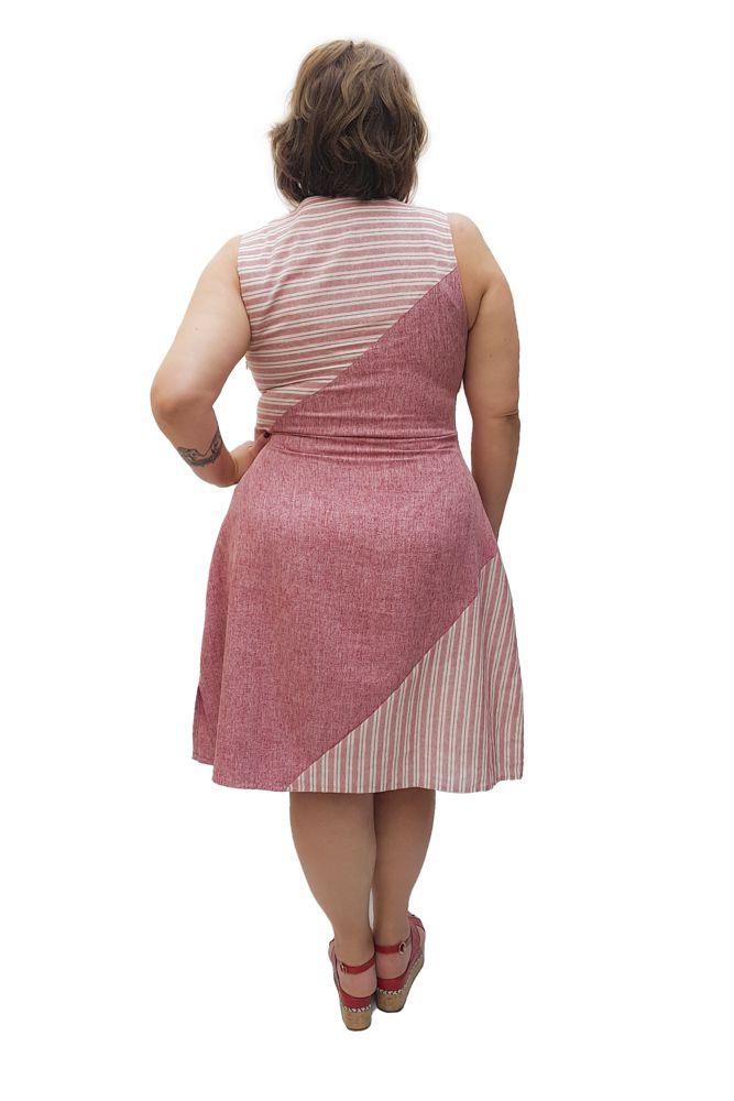 Vestido Curto Linho Listrado e Liso Plus Size