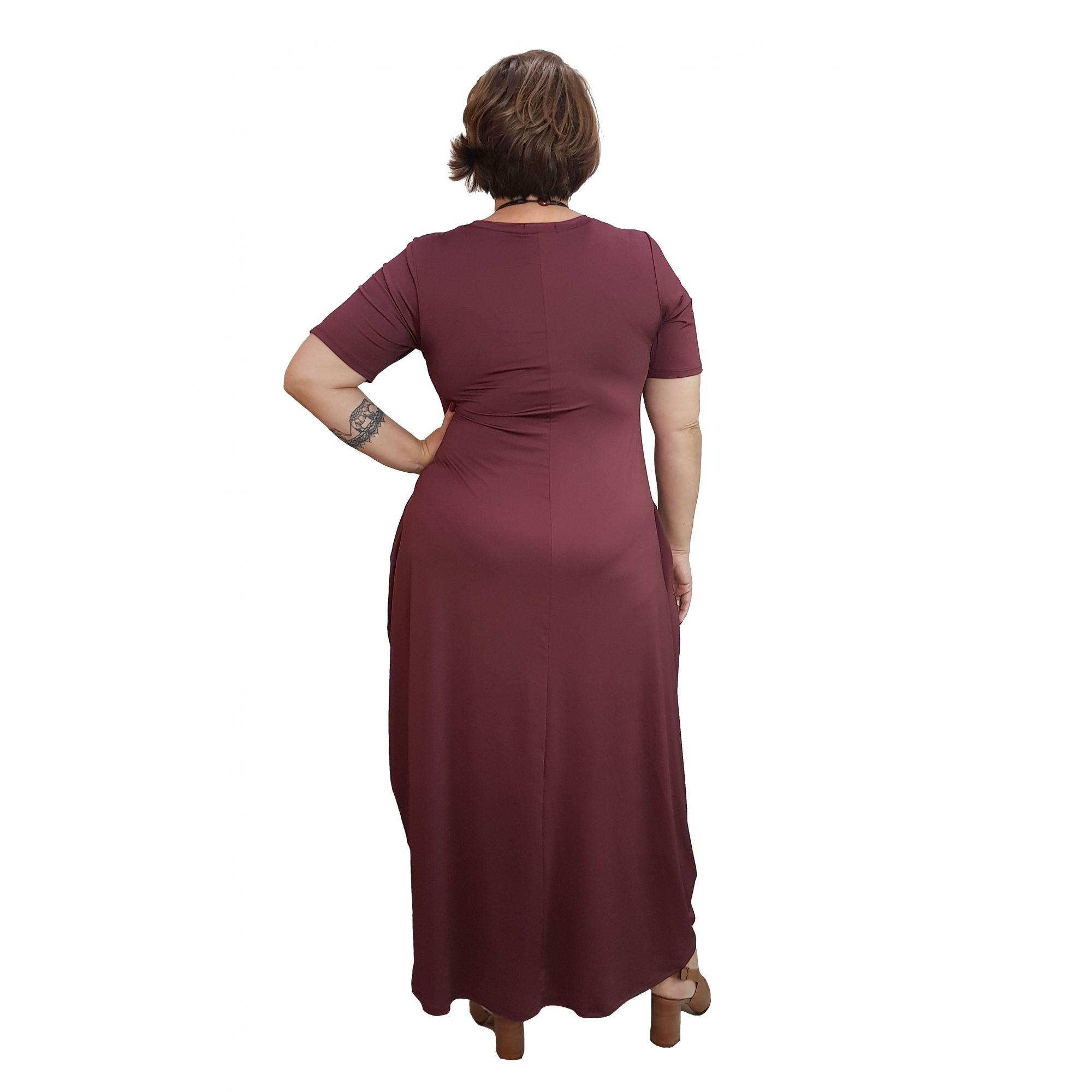 Vestido Longo Amplo Bordô Plus Size