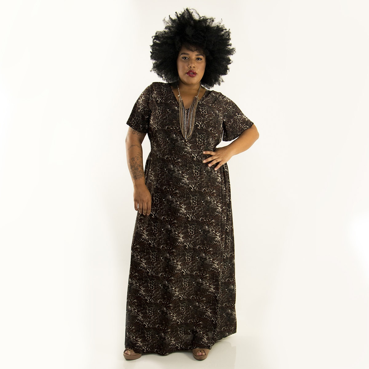 Vestido Longo Animal Print de Malha Fria Plus Size