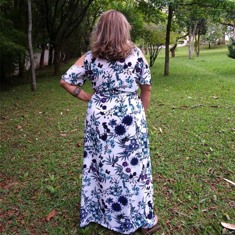 Vestido Plus Size Longo Estampado Crepe
