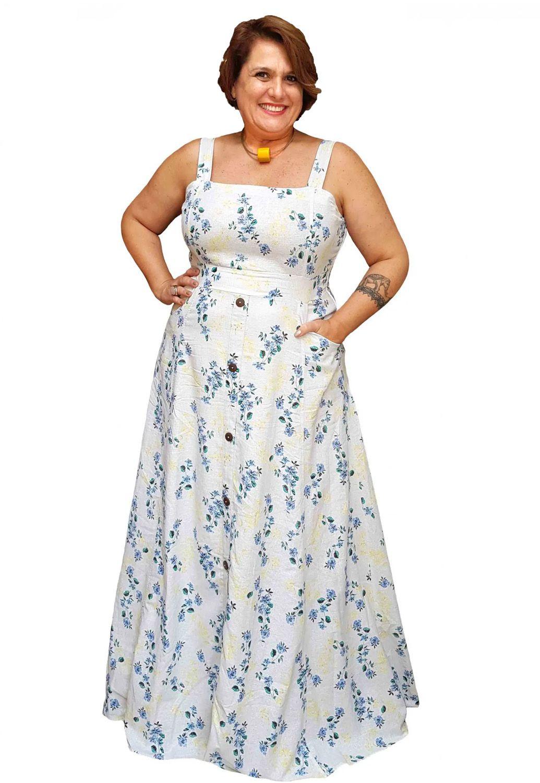Vestido Longo Estampado Floral com botões Plus Size